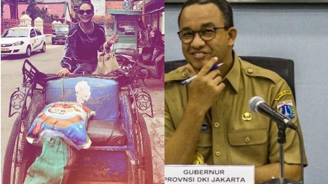 Caption 'Menggelitik' Krisdayanti di Foto Naik Becak Ini Bikin Netter Ribut Ingat Anies Baswedan