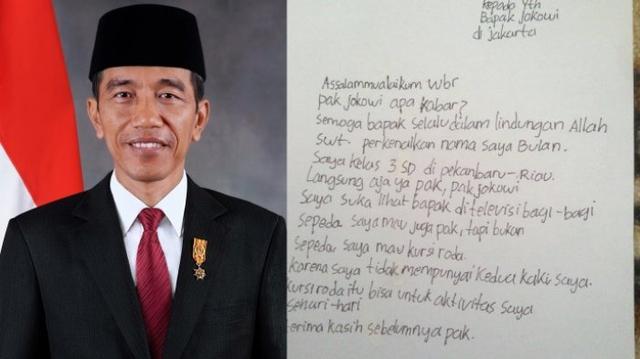 Bocah ini Kirim Surat dan Minta Kursi Roda, Gak Nyangka Begini Respon Jokowi