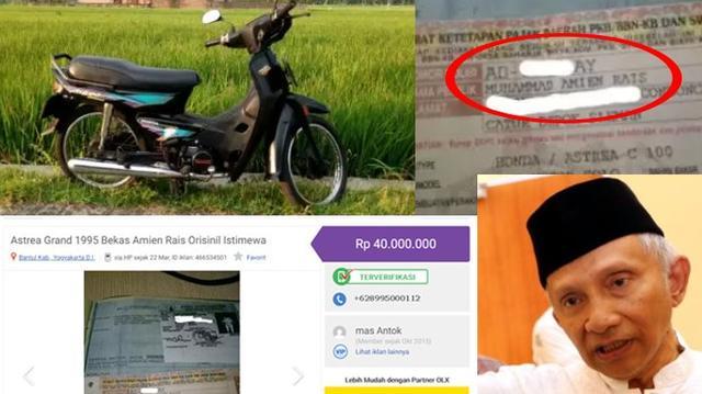 Anak Amien Rais Membantah Motor yang Dijual Orang Lewat Iklan Online Rp 40 Juta Milik Ayahnya