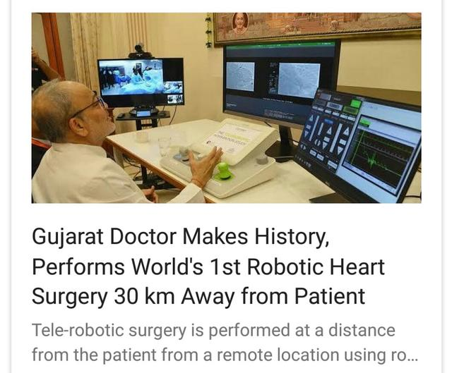 For those who thinks Gujarat is only for business needs to see this. World's 1st robotic surgery in Ahmedabad, a major achievement for our doctors, but sadly nine of the major media cover this report